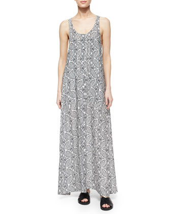 Coruna Paisley Maxi Dress, Light Navy/Ivory