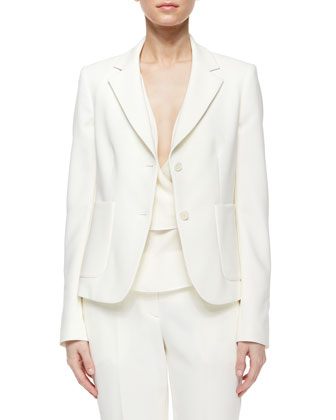 Ornella Admiral Crepe Jacket, Off White