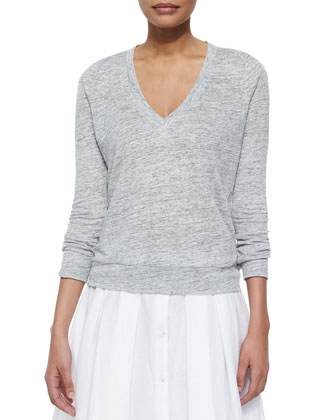 Dalphon Melange Sweater & Keltrice Button-Down Pleated Skirt