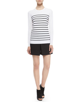 Weson Stripe-Front Long-Sleeve Top