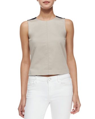 Allecra Sleeveless Top, Light Clay/Navy
