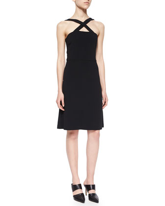 Celia Crisscross-Front Dress, Black
