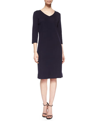 Three-Quarter-Sleeve Shift Dress, Women's