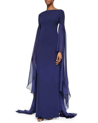 Scarf-Sleeve Column Gown