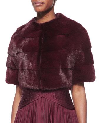 Half-Sleeve Mink Fur Bolero & Draped Crisscross Halter Gown