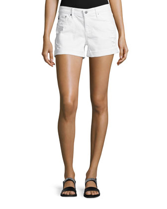Hailey Roll-Up Distressed Denim Shorts, White