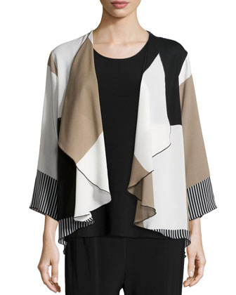 Barcode Blocks Draped Jacket, Stretch Knit Long Tank & Barcode Blocks ...