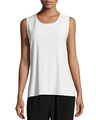 Sleeveless Long Tank, White, Women's