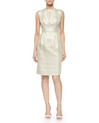 Laurie Metallic Jacquard Sheath Dress