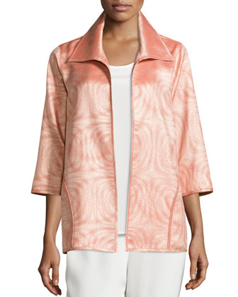 3/4-Sleeve Jacquard A-Line Jacket, Women's