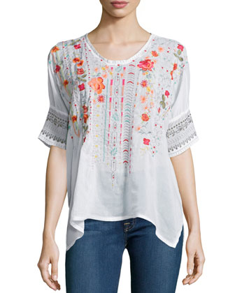 Armineh Short-Sleeve Embroidered Georgette Blouse, Women's