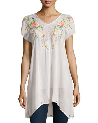 Short-Sleeve Embroidered Long Tunic, Women's