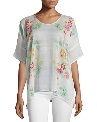 Floral-Print Short-Sleeve Georgette Poncho Top