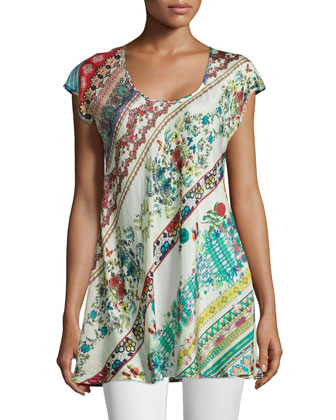 Cap-Sleeve A-line Printed Tunic, Women's