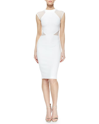 Viven Paneled Jersey Dress, White