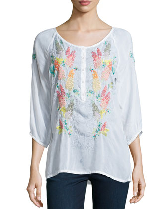 3/4-Sleeve Embroidered Blouse, Women's