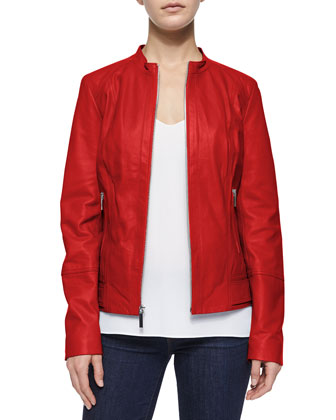 Lambskin Leather Bomber Jacket, Grenadine