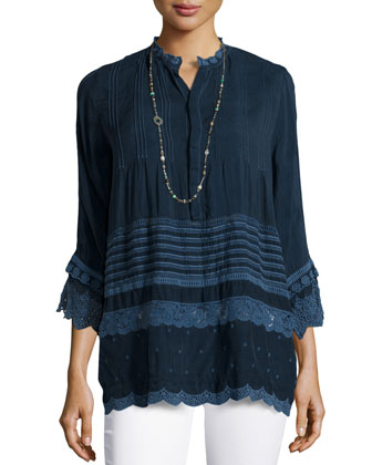 Flutter-Sleeve Georgette Tunic & Single Strand Multi-Bead Necklace, Women's