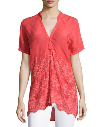 Tulia Short-Sleeve Embroidered Georgette Blouse, Women's