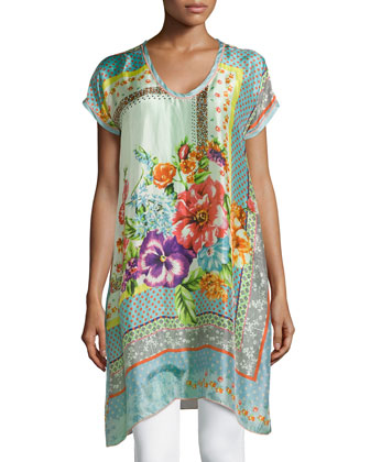 Modisch Printed Silk Long Tunic, Women's