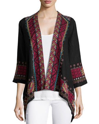 Jeanette Linen Draped Cardigan W/ Embroidery