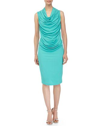 Sleeveless Ruched Dress, Aqua