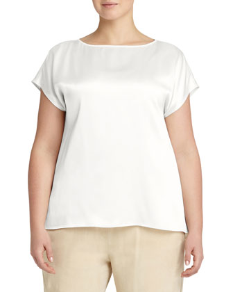 Rosie Cap-Sleeve Charmeuse Blouse, Women's