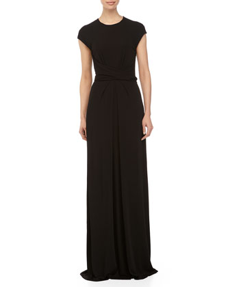 Cap-Sleeve Wrap-Waist Gown, Black
