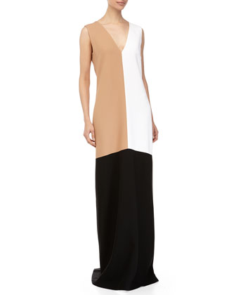 Sleeveless Colorblock Gown, Suntan