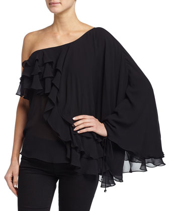 One-Shoulder Ruffled Top, Black