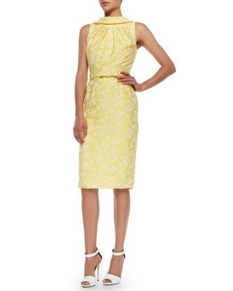 Sleeveless Belted Brocade Sheath Dress