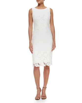 Sleeveless Lace Sheath Dress, White