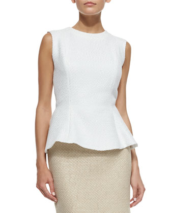 Sleeveless Pique Peplum Top, White