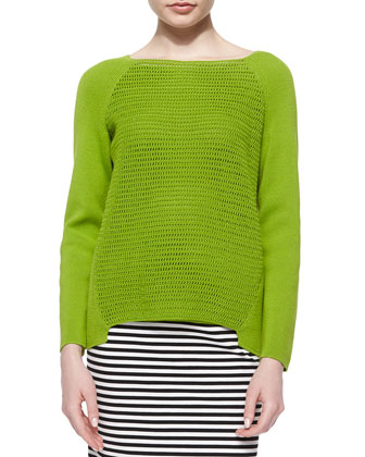 Open Weave Long-Raglan-Sleeve Sweater