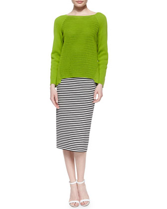 Open Weave Long-Raglan-Sleeve Sweater & Long Striped Pencil Skirt