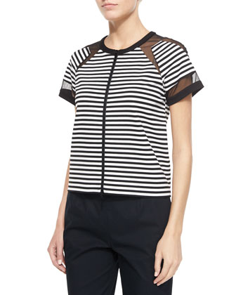 Short-Sleeve Striped Zip Front Top with Mesh