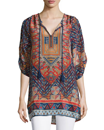 Stacey Silk Printed Long Tunic, Marine, Women's