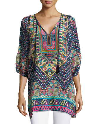 Stacey Silk Printed Long Tunic, Navy