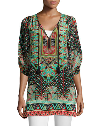 Stacey Silk Printed Long Tunic, Black, Women's