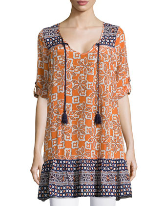 Devina Tie-Neck Printed Tunic/Dress, Persimmon