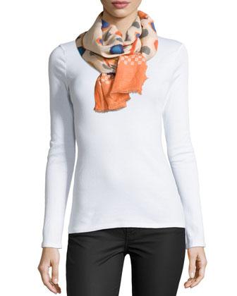 Devina Tie-Neck Printed Tunic/Dress & Dots Scarf W/ Fringe Trim