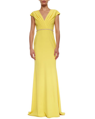 Cap-Sleeve Beaded-Waist Column Gown