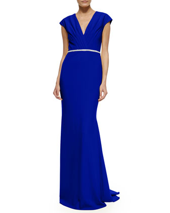Cap-Sleeve Beaded-Waist Column Gown, Blue