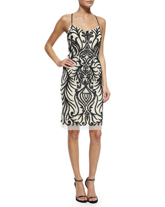 Embroidered-Mesh Racerback Sheath Dress w/ Beading, Black/White