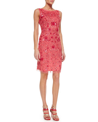 Sleeveless Beaded Embroidered Sheath Dress