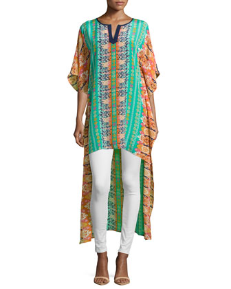 Mandira High-Low Printed Caftan Tunic, Apricot, Women's