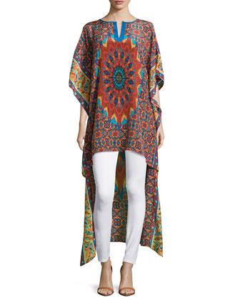 Mandira High-Low Printed Caftan Tunic, Women's