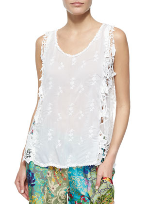Lacy Mesh Tank, Tiered Capri Necklace & Floral-Print Silk Georgette Pants