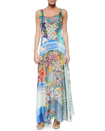 Sleeveless Patchwork Maxi Dress