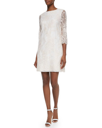 Laavia 3/4-Sleeve Lace Dress, Shell